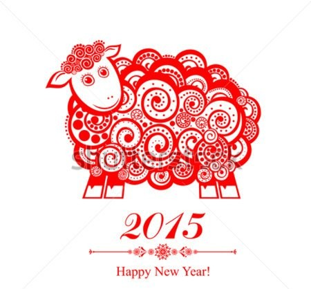 stock-vector--new-year-card-with-red-sheep-vector-illustration-192276386